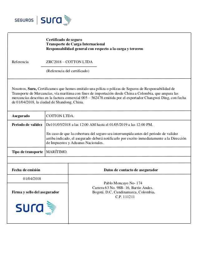 certificado de seguro de transporte formato word